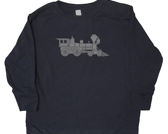 Kids Train Engine Long Sleeved Shirt - Train Shirt in Baby, Toddler, Kids Sizes Boys or Girls Shirt You choose ink color - Great Gift idea