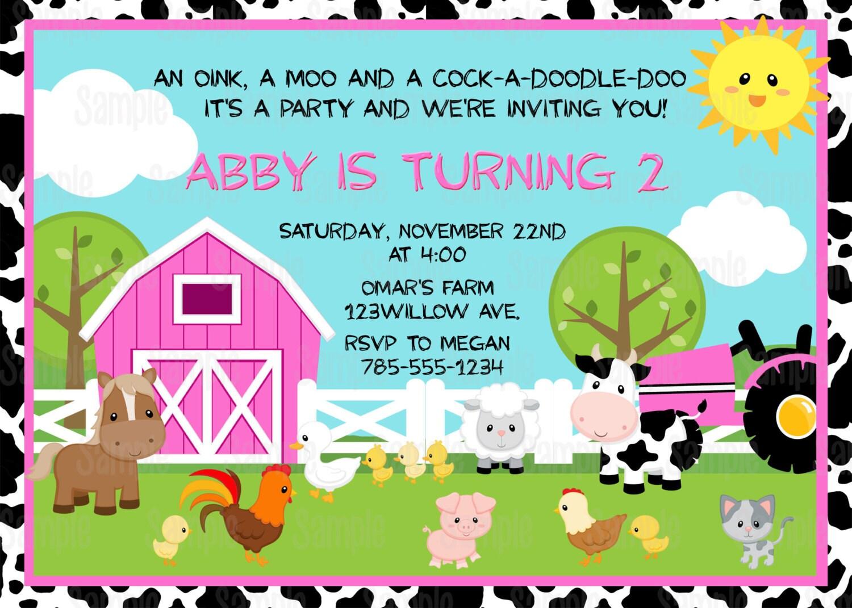 Printable Farm animals Birthday Party Invitation plus FREE
