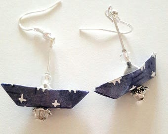 Origami - earrings white and blue Japanese paper boats.
