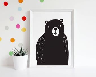 Black Bear Art Print – 8x10, 11x14, 13x19 – Modern Black and White Children's Room, Nursery, Playroom Illustration