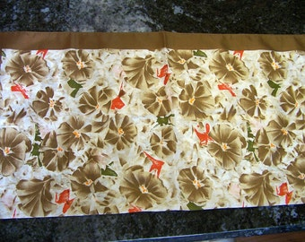 80's Vintage Scarf  Made in Italy  Golden Brown Brush Stroke Floral Design Soft Autumn Fall Colors