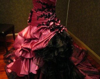 Pink and Black Wedding Dress Gothic Bridal Gown Custom Made to Your Measurements by Award Winning Bridal Salon