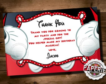 MICKEY MOUSE Birthday Thank You Card, Mickey Mouse Thank You, Disney, Pink Frosting Paperie