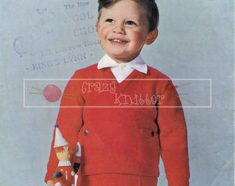 Baby Boy Suit 21-23in DK Patons 9147 Vintage Knitting Pattern PDF instant download