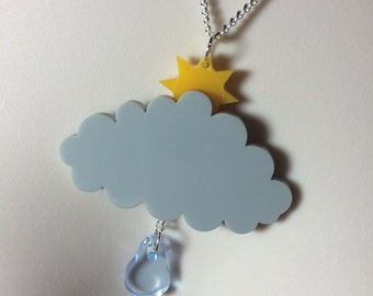 spring inspired Weather necklace ..laser cut Acrylic