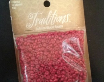 Red Color Wooden 2x4 mm Beads, Red Beads,  Unique Wooden Beads, Unused Jewelry Making Supplies, Unopened Package of Beads