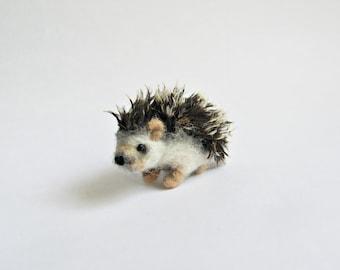 Miniature hedgehog, needle felted ooak soft sculpture miniature felted animal felt toy