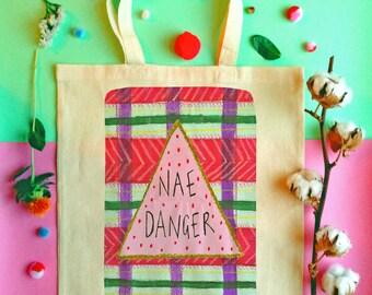 NAE DANGER Tote Bag, Scottish Slang Phrase Illustrated Tote, Tartan Quirky Typography Cotton Shopper