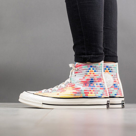 Rainbow Converse High Top 70s Mara Hofman Quilted Knit Digital Embroidery w/ Swarovski Crystal Rhinestone Chuck Taylor All Star Sneaker Shoe