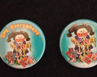 "Garbage Pail Kids Leaky Lindsay Messy Tessy custom pin 1.25"" pop art"