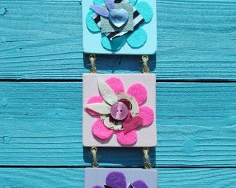 3 Part Blue, Pink and Purple Wooden Flower Dangler