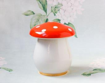 1960's Mushroom Porcelain Box / RARE Golden Tipped USSR Vintage Multipurpose Jewellery Box, Sugar Bowl, Soviet Agaric Shroom Jar - Коростень