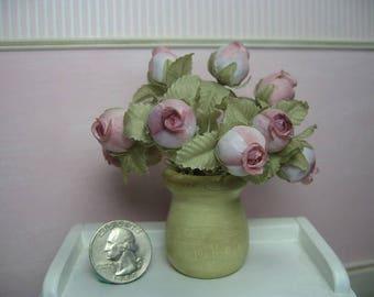 1/6 1:6 fashion doll barbie blythe fashion royalty poppy miniature roses vase pink shabby