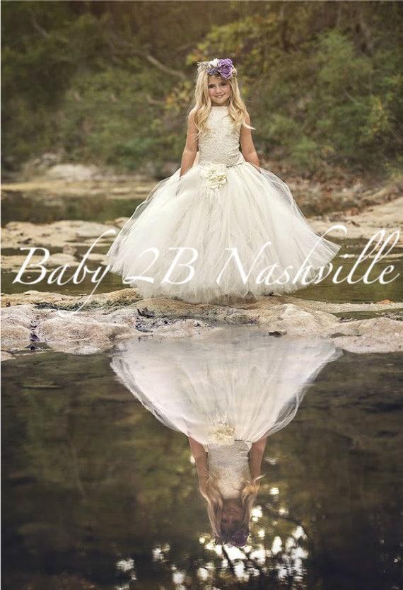 Vintage Dress Ivory Dress Sequin Dress Lace Dress Flower Girl