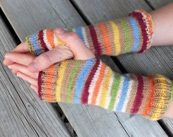 Handknitted fingerless mittens, fingerless gloves, wool arm warmers
