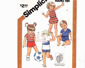 Simplicity 5953  Shorts and Pullover Tops, Pull On Romper, Toddler Size 4 Uncut Pattern