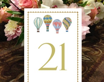 Hot Air Balloon Table Numbers, Vintage Balloon Numbers, Napa Table Numbers, New Mexico Table Numbers, 1 - 50 Instant Download Table Numbers