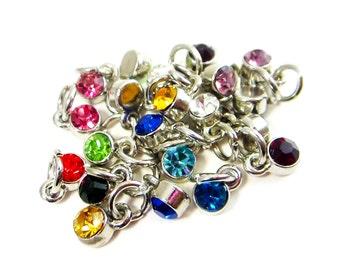 Birthstone Charm - Birthstone Necklace - Tiny Birth Stone Charm Layering Necklace - Dainty Rhinestone Month Silver Drop Necklace Jewelry