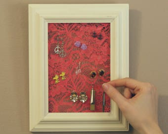 Earring Organizer - White frame with pink lace