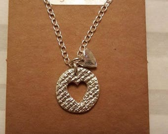 Round Textured Pendant / Fine Silver 999 / PMC / Precious Metal Clay / Heart / Love / Charm / 999FS