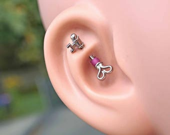 Silver Heart and Key Rook Earring Daith Piercing Eyebrow Ring