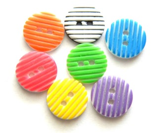 10 Assorted Striped Buttons 13mm