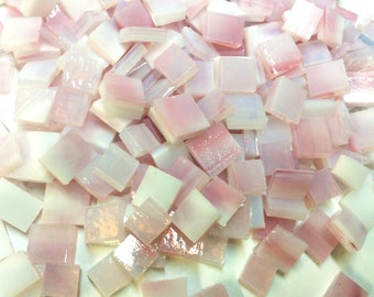 PINK ANGEL MOTTLED Odd 75 Small Size mix Stained Glass Mosaic Tile i-4