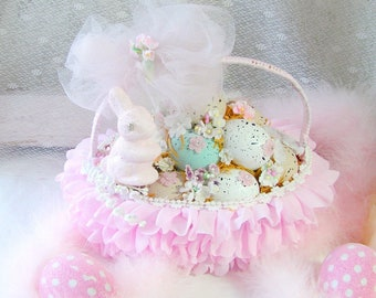 Easter Eggs in a Pink Ruffled Basket, tiny Flowers, Rhinestones, Pink Glittered Bunny, Cottage Egg Basket, Easter Decor, Easter Decorations
