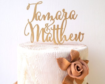 Personalized wedding cake topper, custom cake topper, rustic wedding cake topper, names cake topper