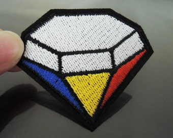 Diamond Patches - Iron on Patches or Sewing on Patch Blue Yellow Red Patches Embroidered Patch Diamonds Embellishment