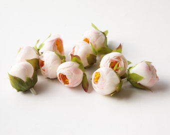 10 MINI Ranunculus in White and Pink - silk artificial flower, flower crown supply - ITEM 0542