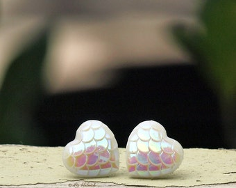 Moon Glow Heart Stud Earrings, White Dragon Scale Hearts, Mermaids Posts, Choose Titanium or Stainless Steel,12mm
