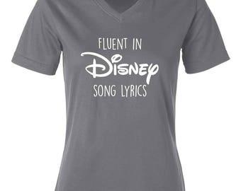 Fluent in Disney Song Lyrics V-neck T-shirt