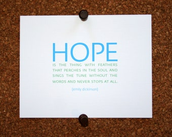 """Set of 10 / Custom Inspirational Cards with Quote by Emily Dickinson """"Hope is the thing with feathers that perches in the soul and sings.."""""""