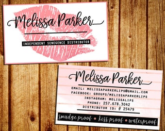 LipSense Business Card - SeneGence Business Calling Card - Double Sided - Personalized - YOU PRINT