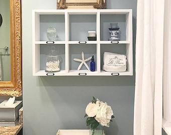 Bathroom Shelf - Bathroom Over the Toilet Storage -  Floating Shelves - Bathroom Wall Organizer - Towel Shelf - Wood Shelf- White