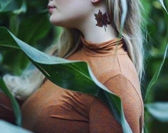 Fall Leaves Temporary Tattoo, Nature Tattoo, Colorful Oak Leaves Tattoo, Autumn Leaf Tattoo