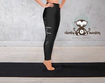 Yoga Leggings // Bride Print Leggings (Personalized) // Yoga, Barre, Pilates, Running, Exercise, Fashion, Bridal Shower, Bachelorette Party