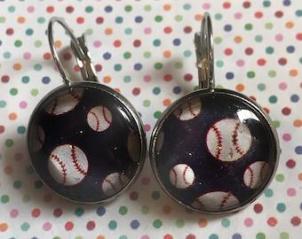 Baseballs glass cabochon earrings - 16mm