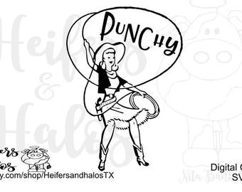 Punchy roper girl svg, pdf, png, eps, dxf, studio3 digital cut file, western, ranchy, country, ranch, cattle, cows, cricut, silhouette
