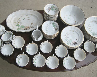 Shabby chic China 57 piece Favolina foliage inspired dishes & dinnerware set. Crafted in Poland.