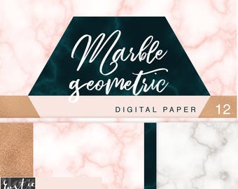 MARBLE geometric digital paper kit. Marble, copper. 12 PNG files to create planner stickers, wall art, decoration, coasters, bunting.