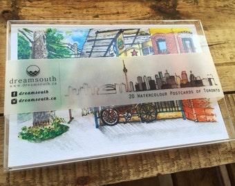 Toronto-themed Watercolor Postcard Box Set (20 different Toronto Postcards in the set)