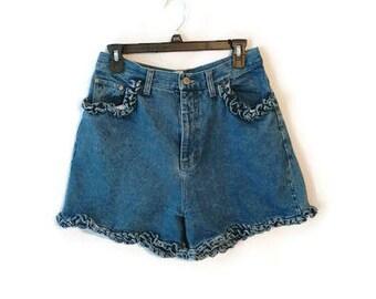 Vintage 1980s Gitano jean shorts ruffles high waist size 13/14 measure Medium
