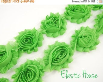 "SALE 30% OFF 2.5"" Shabby Rose Trim-  Apple Green - Green Shabby Rose Trim - Apple Green Shaby Trim -Summer/Fall - DIY Hair Accessories Suppl"