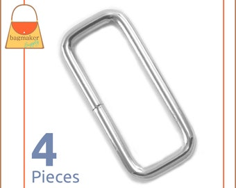 "1.5 Inch Rectangle Rings, Nickel Finish, 4 Pieces, Purse Handbag Bag Making Hardware Supplies, 1.5"", 1-1/2 Rectangular, RNG-AA280"