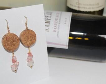 Recycled Wine Cork Earrings ~ Rose Quartz ~ Dangle