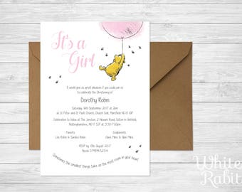 Girl Baby Shower / Christening Invitations • including Envelopes