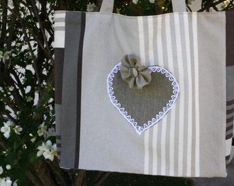 Big Bag large tote bag coordinated striped Brown