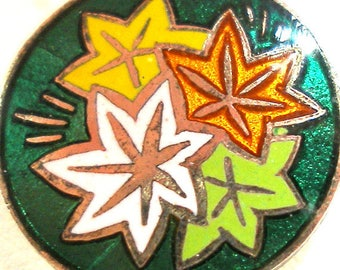 "50s Japanese Enamel Button, Autumn Leaves 5/8"", 5 colors. Made in Japan."